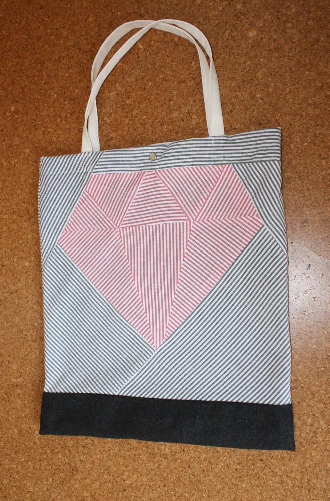 Baumwolltasche mit Patchwork-Diamant