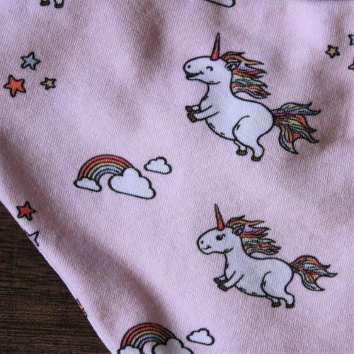 Baumwolljersey in rosa mit Einhörnern