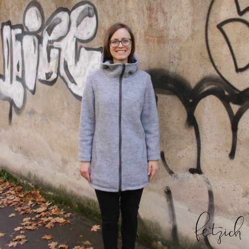 Walkmantel Vorderansicht - Sportlicher Mantel jErika aus Wollwalk